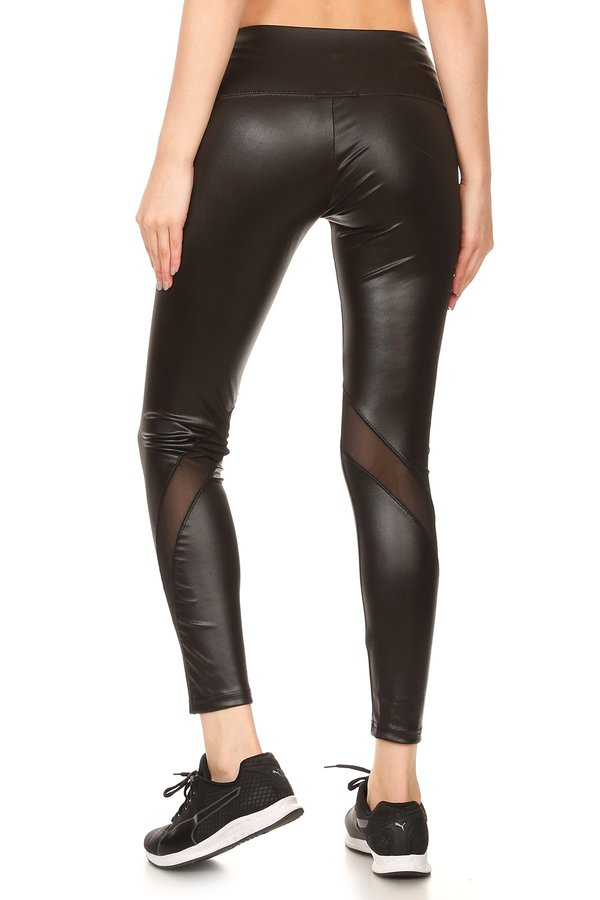 Slay with the seductive look of our Striped Mesh Faux Leather Leggings. These edgy faux leather bottoms will transform typical everyday fashion looks into an eye-catching ensemble that looks fresh off the catwalk. Even with their polished skinny mesh and leather style, they are still super comfy, made from a soft and stretchy material that will flawlessly mold to your body and give you a.