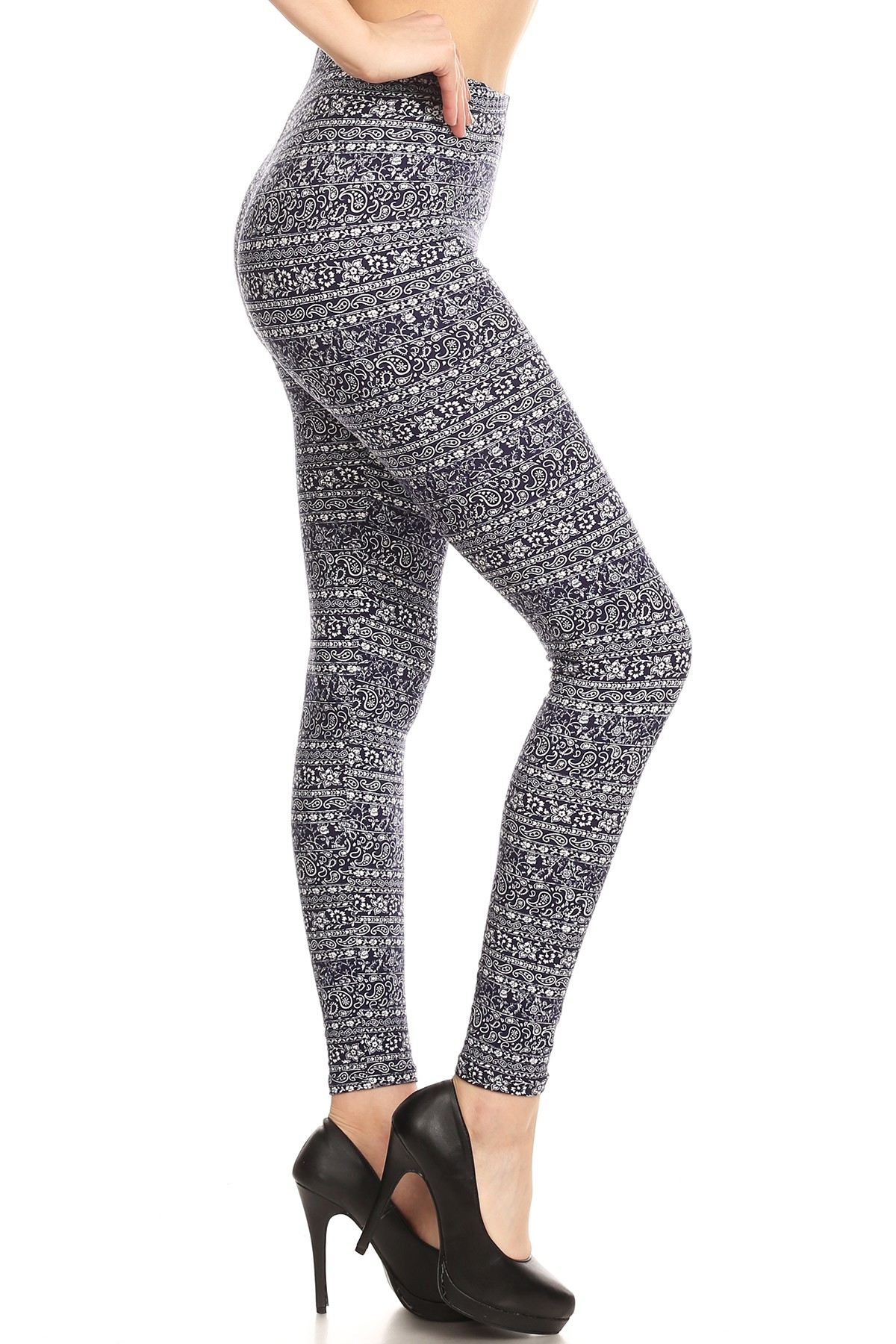 wholesale womens poly brushed printed leggings