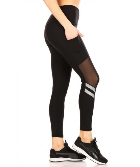 Wholesale Womens High Waist Tummy Control Sports Leggings with Pockets Side Mesh & Reflective Tape Detail