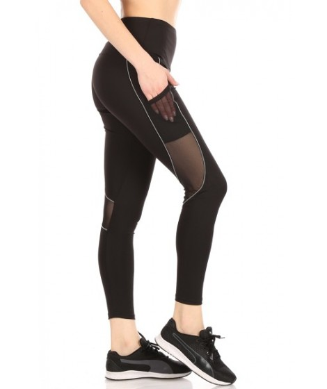 Wholesale Womens High Waist Tummy Control Sports Leggings With Contrast Binding Side Pockets & Mesh Panels