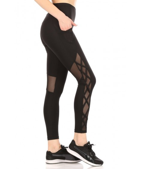 Wholesale Womens High Waist Tummy Control Sports Leggings With Side Mesh Pockets & Criss Cross Straps