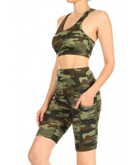 Wholesale Womens 2-Piece Set Crop Tops & High Rise Biker Shorts With Side Phone Pockets