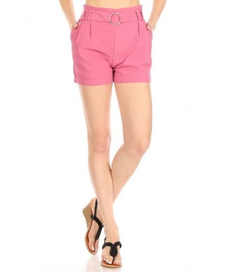 Wholesale Womens Belted Paperbag Waist Cuffed Shorts