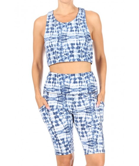 Wholesale Womens 2-Piece Sets Reversible Racerback Sports Bra Tops & High Rise Biker Shorts With Side Pockets