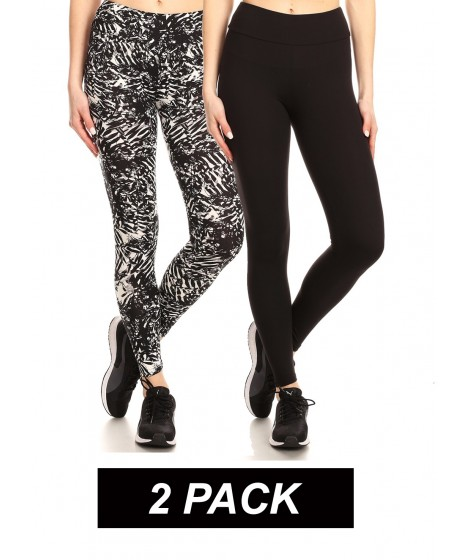 Wholesale Womens 2 Pack Soft Brushed Sports Leggings