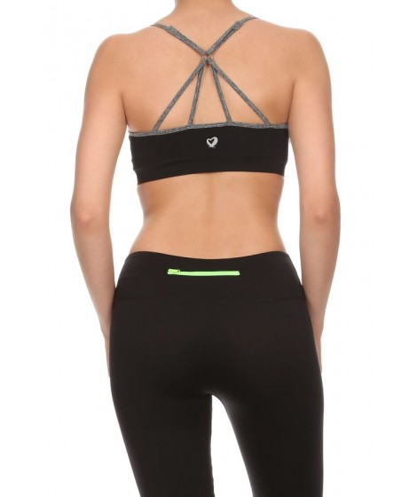 Wholesale Womens Multi Strapped Active Bras Tops 6ABR05BLK