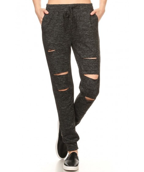 Wholesale Womens Sweater Knit Joggers With Cut Out Details