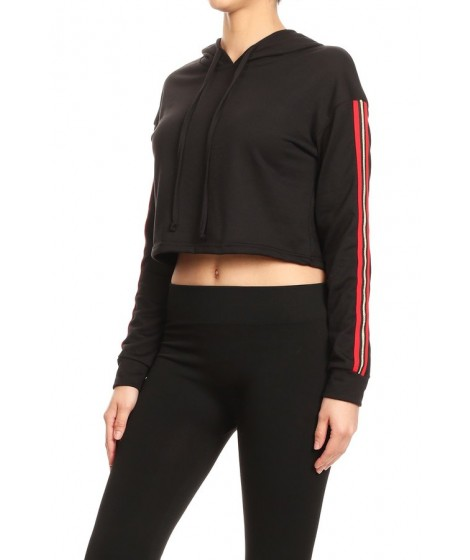 Wholesale Womens Cropped Pullover Hoodies With Side Racing Stripes