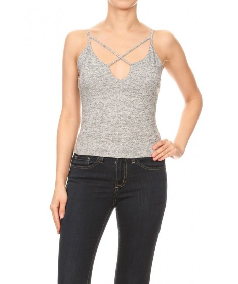 Wholesale Womens Solid Spaghetti Strap Criss Cross V-Neck Crop Tops