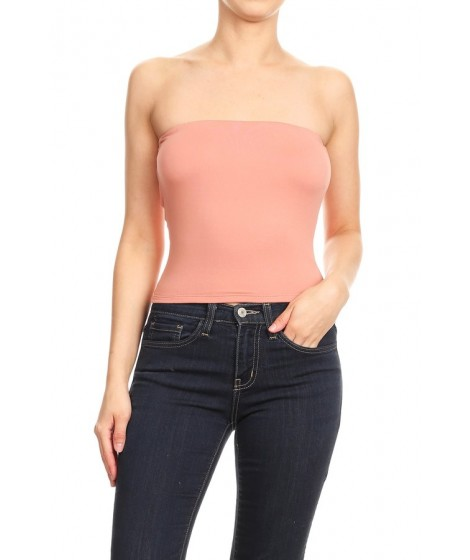 Wholesale Womens Solid Strapless Tube Tops