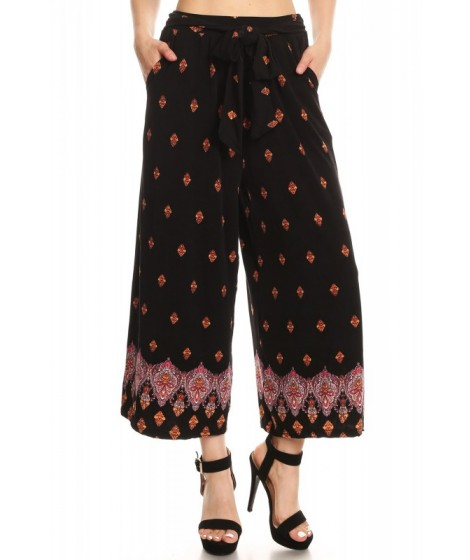 Wholesale Womens Cropped Wide Leg Palazzo Pants With Waist Tie