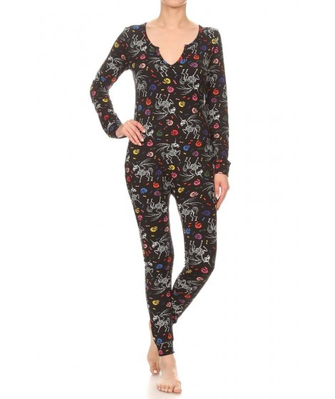 Wholesale Womens Fleece Lined Button Up Onesie Jumpsuits Pajamas