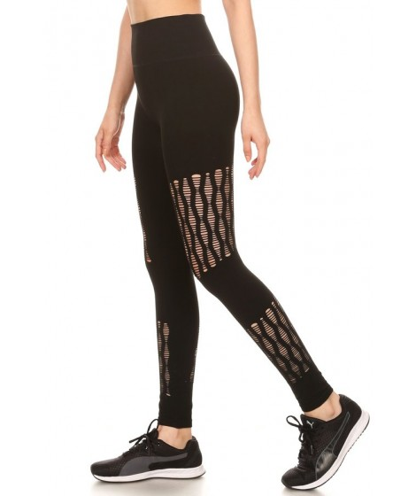 Wholesale Womens High Waist Leggings With Fish Net Panels