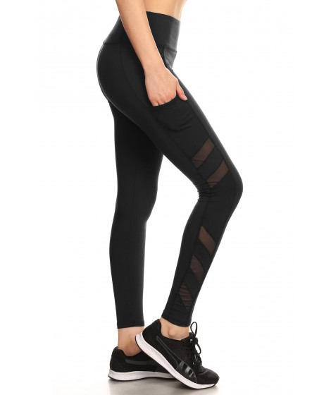Wholesale Womens Sculpting Sport Leggings With Side Pockets & Mesh Panels