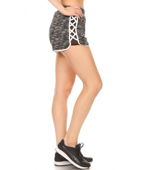 Wholesale Womens Dolphin Hem Shorts With Side Mesh Panels & Criss Cross Straps