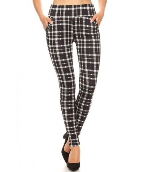 Wholesale Womens Plaid Print Tregging Skinny Pants With Zippers