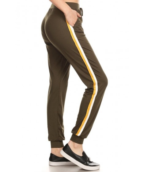 Wholesale Womens Joggers Sweatpants With Side Stripe Twill Tape