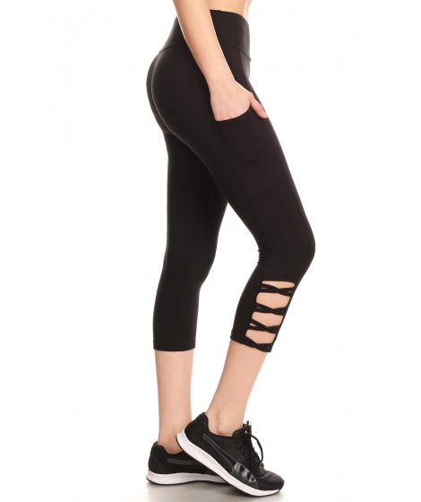 Wholesale Womens Sports Capris Leggings With Side Cross Straps & Pockets