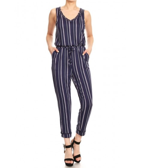 Wholesale Womens Back Overlap With Eyelet Trim Cropped Length Jumpsuits