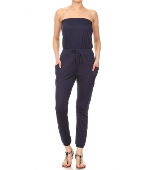 Wholesale Womens Tube Top Jogger Jumpsuits With Side Pockets