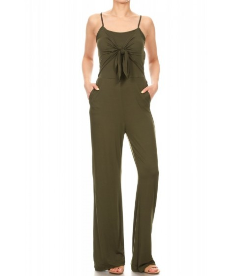 Wholesale Womens Bow Tie Front Jumpsuits With Back Smocking