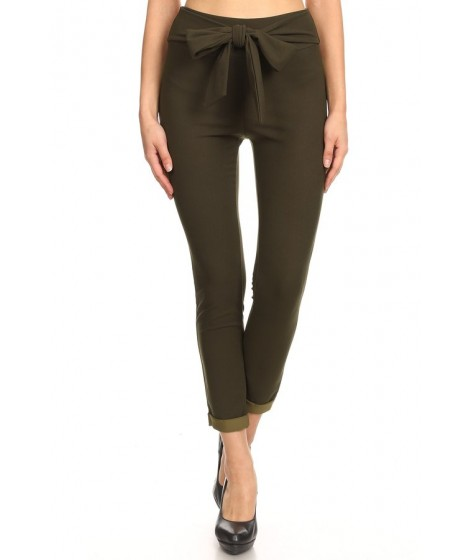 Wholesale Womens Cropped Skinny Pants With Rolled Hem & Bow Tie