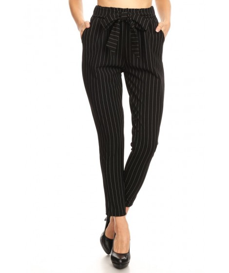 Wholesale Womens Twill Knit Loose Fit Semi Harem Pants With Front Bow Tie