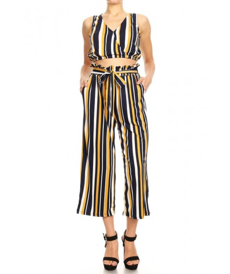 Wholesale Womens 2-Piece Set V-Neck Crop Tops & Paper Bag Waist Cropped Wide Leg Pants