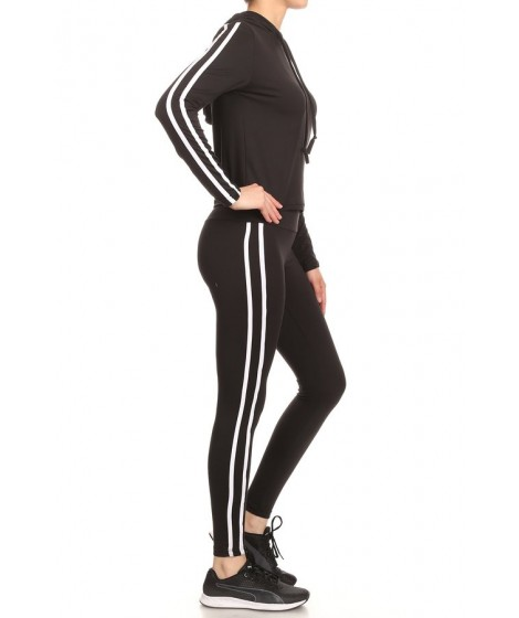 Wholesale Womens 2-Pieces Set Cropped Long Sleeve Hoodie Top + High Waist Leggings With Contrast Side Stripes
