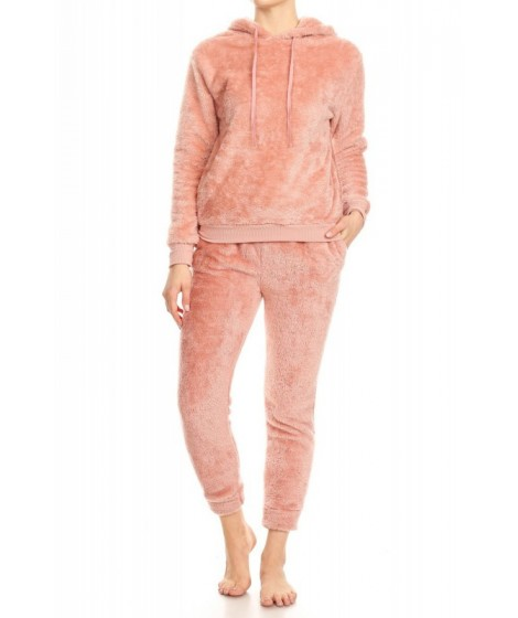 Wholesale Womens 2-Piece Double Side Plush Pullover Hoodie + Joggers Set