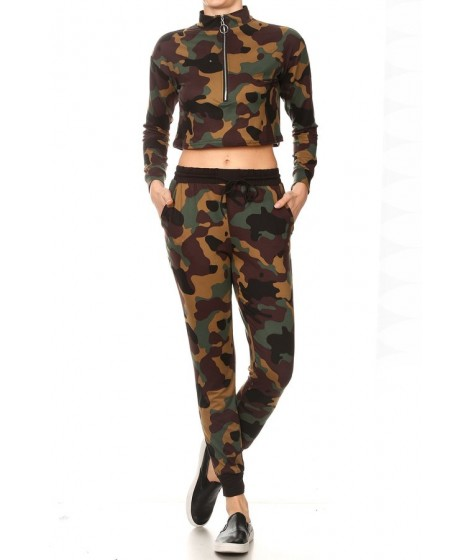 Wholesale Womens 2-Pieces Sets Cropped Mock Neck Zip Up Long Sleeve + Joggers Sweatpants