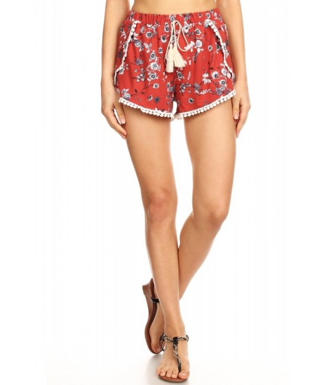 Wholesale Womens Overlap Shorts With PomPom Trim & Tassel