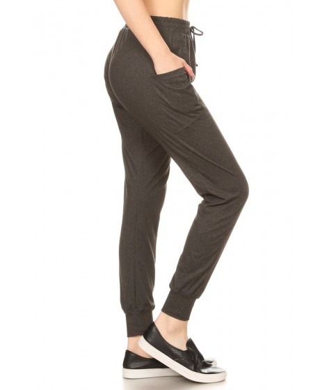 Wholesale Womens Soft Brushed Joggers Sweatpants With Side Panel Pockets