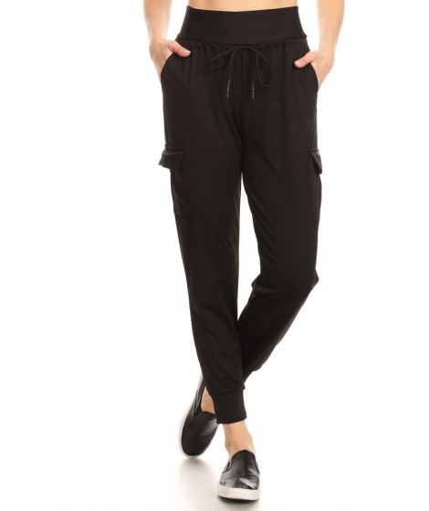 Wholesale Womens High Waist Double Face Cargo Joggers Sweatpants