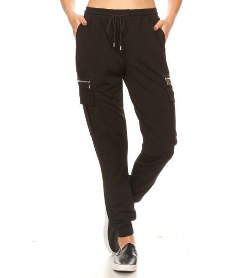 Wholesale Womens Joggers Sweatpants With Cargo Zipper Pockets