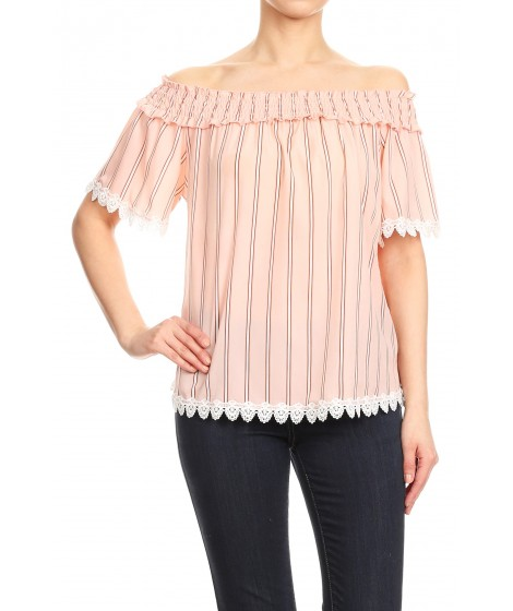 Wholesale Womens Smocked Off-The-Shoulder Tops With Crochet Trim