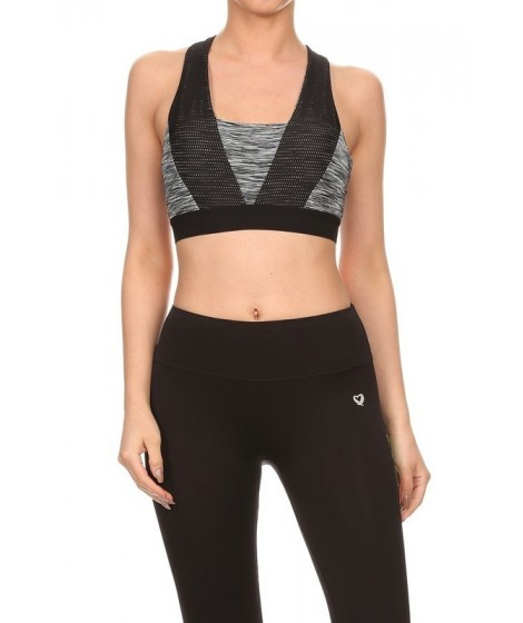 Wholesale Womens Active Space Dye & Mesh Bras Tops