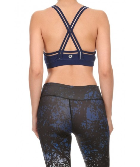 Wholesale Womens Solid Active Sports Bras Tops With Clear Mesh Trim