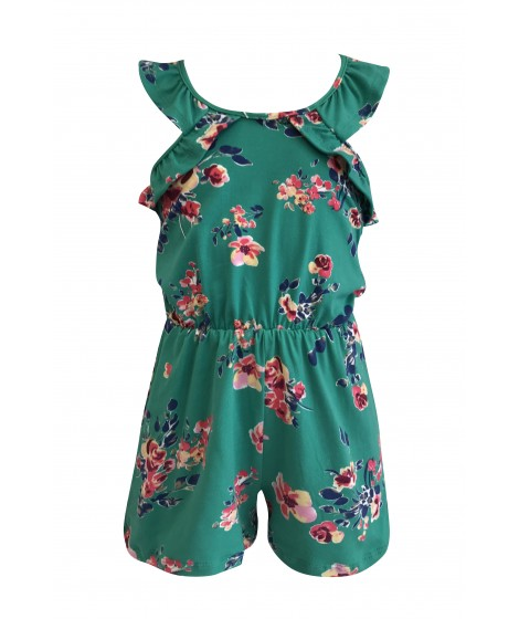 Wholesale Kids Soft Brushed Crossed Back Rompers With Ruffle Sleeves
