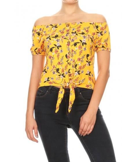 Wholesale Womens Off-The-Shoulder Tops With Waist Tie & Button Down Detail
