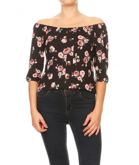 Wholesale Womens Off-The-Shoulder 3/4 Sleeves Tops With Button Down Detail