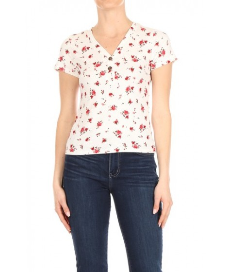 Wholesale Womens V-Neck Short Sleeve Tops With Button Down Detail