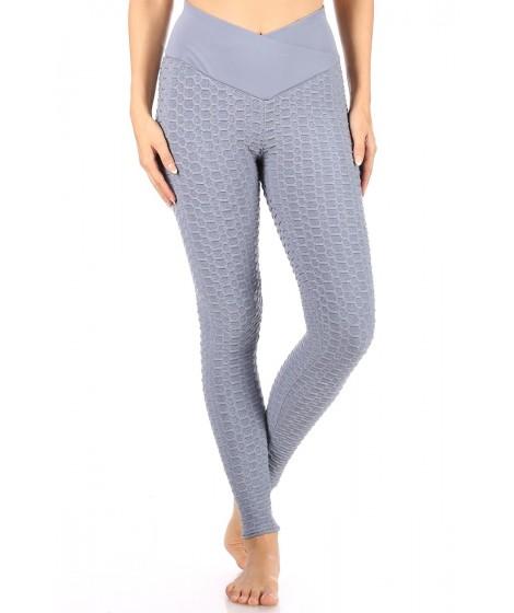 Wholesale Womens Overlap Waist Honeycomb Textured Butt Scrunch Sports Leggings