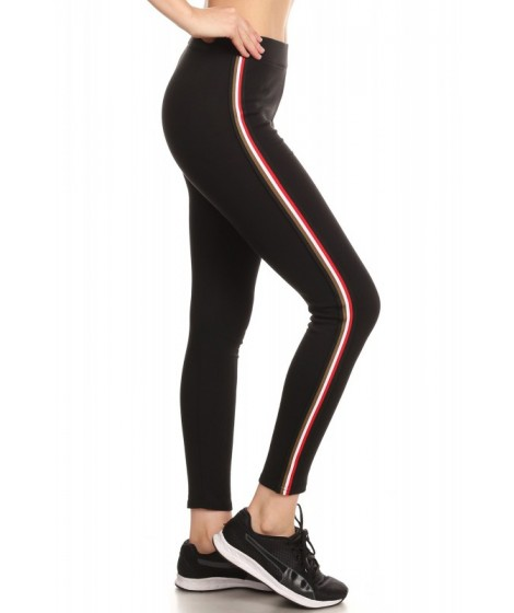 Wholesale Womens Cotton Blend Leggings With Side Stripes Detail