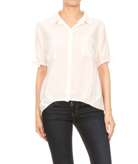 Wholesale Womens Solid Short Sleeve Collared Tops