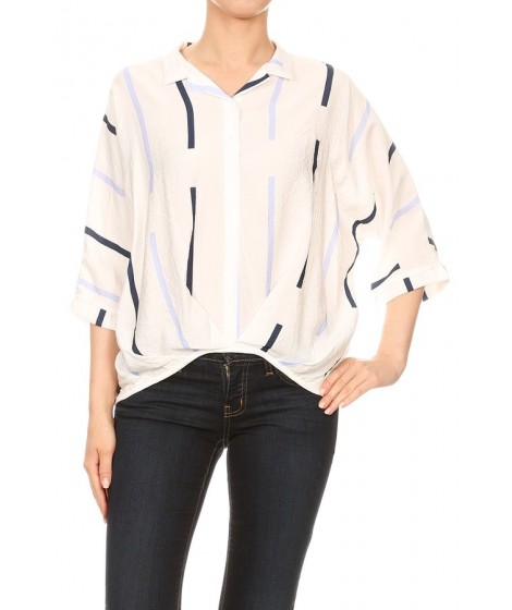 Wholesale Womens Oversized 3/4 Sleeves Collared Tops