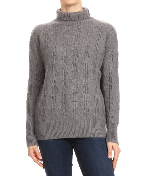 Wholesale Womens Textured Knit Chunky Turtleneck Pullover Sweaters