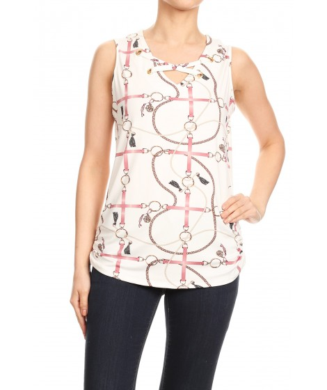 Wholesale Womens Missy Criss Cross Grommet V-Neck Sleeveless Tops