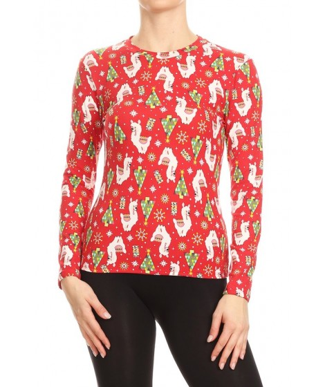 Wholesale Womens Holiday Print Soft Brushed Long Sleeve Tops