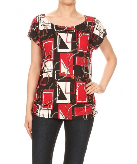 Wholesale Womens Missy Short Sleeve Tops With Shoulder Chain Detail